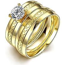 Thumby Acciaio Inossidabile Ciao Placcata D'Oro 11g Alla Moda La Scultura Del Doppio Strato Di (Anello Di Diamante Di Modo Cerchio)