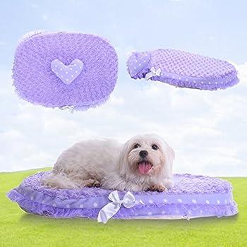 TAONMEISU? Panier Coussin en dentelle pour chien chat doux Amovible lavable hauteur 8 cm haut de gamme violet chic - medium