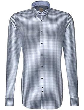 Seidensticker Herren Langarm Hemd Schwarze Rose Slim Fit Button-Down-Kragen Extra langer Arm blau / weiß kariert...