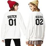 Best Friends Pullover für Zwei Mädchen Sweatshirts Partner Look Rundhals Freundschaft Kapuzenpullis BFF Herbst Rundhal-Pulli Langarm Geschenk 2 stücke(Weiß,sister-01-XS+02-XS)