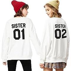 Idea Regalo - Best Friend Felpa Sweatshirt Sister Pullover Ragazze Hoodie Girocollo Coppia Sweater Senza Cappuccio Manica Lunga Autunno per Donna Casual Moda Semplice (Bianco+Bianco,sister-01-S+02-S)