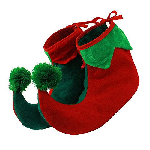 ILOVEFANCYDRESS ELF SHOES BOOTS WITH STUFFED ENDS TO MAKE THEM STAND UP IN CHILD SIZE - 2 SIZES AVAILABLE - CHRISTMAS FANCY DRESS ELF SHOE ACCESSORY ADULTS SANTAS LITTLE HELPER GREEN RED ELVES COVERS