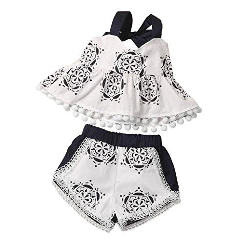 Bekleidung Longra Kind Kinder Baby Mädchen Sommer Kleidung drucken Quaste Ohne Arm Baumwolle Tops Shirt + Shorts Kleiderset Outfit (0-18Monate) (100CM 18Monate, (Girl 20 Land Größe Kostüm)