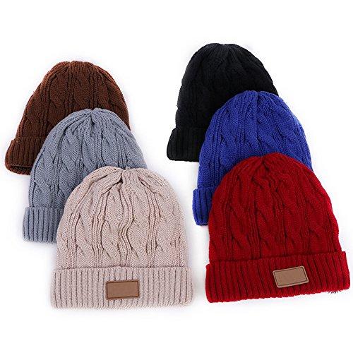 Surker Femmes douces doubl¨¦es en peluche tricot crane chapeau chaude WinterBeanies chapeau 5