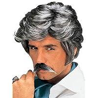 Pelucas hombres corto con Highlights plata Peinado de lado flequillo carnaval carnaval Partido 80s