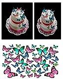 43Schmetterlinge rosa blau türkis DIY Essbare Cup Cake Topper Verschiedene Größen