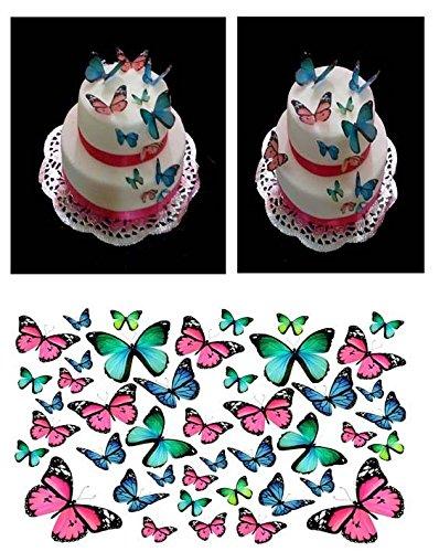 Fabulous Cake Toppers 43 Papillons Rose Bleu Turquoise DIY Tasse Comestible pour gâteaux Mixte Taille