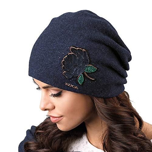 Kamea Rossano Damen Mütze Wintermütze Kopfbedeckung Damenmütze, Dunkelblau,Uni