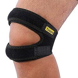 Knee Strap,Patella Bandage Kniegurt Einstellbare Knieschutz für Laufen, Springen, Basketball, Outdoor Sport oder Knie Schmerzlinderung, 11'' - 16'', Schwarz