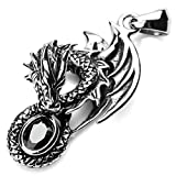MunkiMix Stainless Steel Pendant Necklace Agate Black Dragon Vintage Men ,23 inch Chain