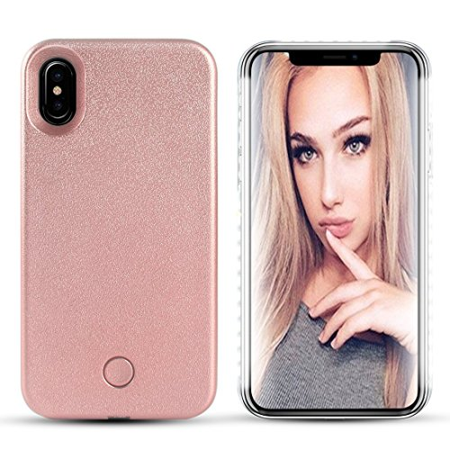 iPhone X LED case – Avkkey iPhone X selfie luce iPhone case Great for a Bright selfie and FaceTime illuminato luce Up custodia cover per iPhone X (Oro rosa)