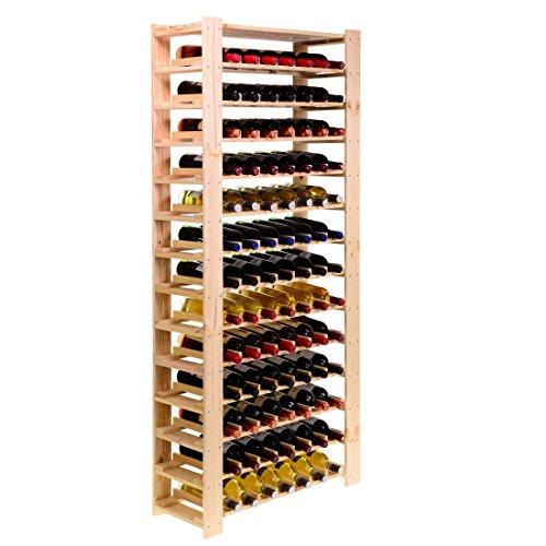Weinregal FACILE, Holz Kiefer natur, für 91 Flaschen - H 174 x B 80 x T 29,3 cm