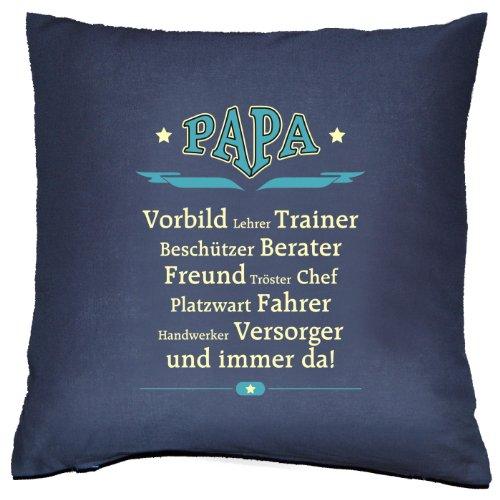 Kissen-trainer (Kissen: PAPA - Vorbild-Lehrer-Trainer und immer da! Navy-Blau, ein kuscheliges und praktisches Vatertags-Geschenk)