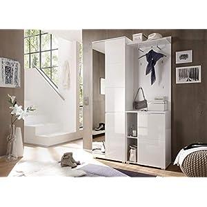 lifestyle4living Garderoben-Set in Weiß, Hochglanz, 120 cm | Kompakt-Garderobe mit Garderobenschrank inkl. Spiegel…