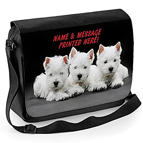 Personalised Cute West Highland Westie Puppies St071 School Shoulder Work Messenger College Bag Gift ** Add a Name or Text