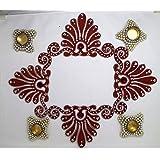 Readymade Reusable MDF Handicraft Rangoli With Kundan Decoration 4 Pieces & 4 Pearl Diyas With 4 Tea Lights