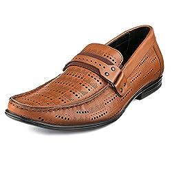 Escaro Mens 100% Genuine Leather Tan Formal Slip On Dress Shoes (ES4015KB_TAN_6)