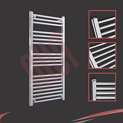 500mm (w) x 1000mm (h) - Radiateur sèche-serviettes plat chromé Barre Horizontale Diamètre: 22mm, Bar Modèle: 3 + 4 + 4 + 8