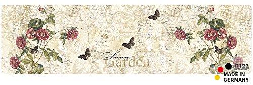 matches21 Küchenläufer Teppichläufer Teppich Läufer Summer Garden Rose 50x180x0,4 cm rutschfest maschinenwaschbar Küchenvorleger