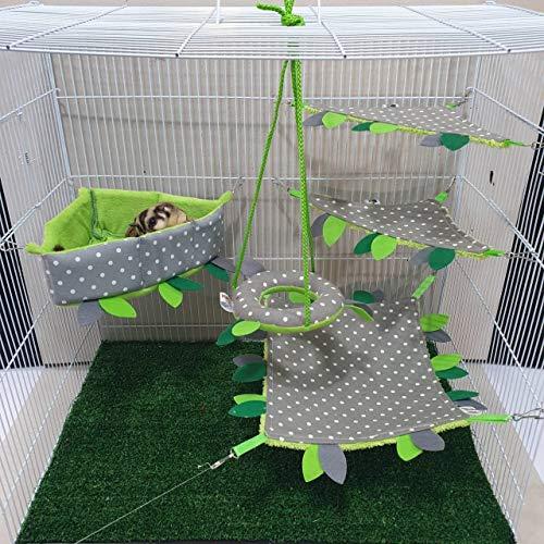 Polar Bear's Pet Shop HOT! Haustier-Käfig-Set für kleine Haustiere, Motiv Eisbär, gepunktet, Grau mit weißen Punkten, 5-teiliges Set Bar-liner