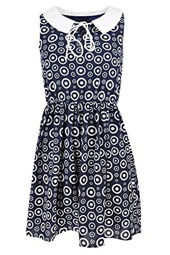Da donna Senza maniche vestito estivo Abstract circle Stampa Skater Dress Abito da sera Blue M/L (42-44)