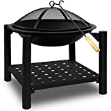Fire Pit Bowl Outdoor Garden Patio Heater - Large Camping Fireplace Firebowl Black with Poker Cover and Wood Storage Tray