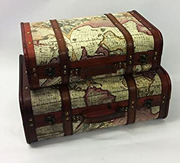 Vintage Style Old World Map Suitcase Atlas Design Case Storage ...