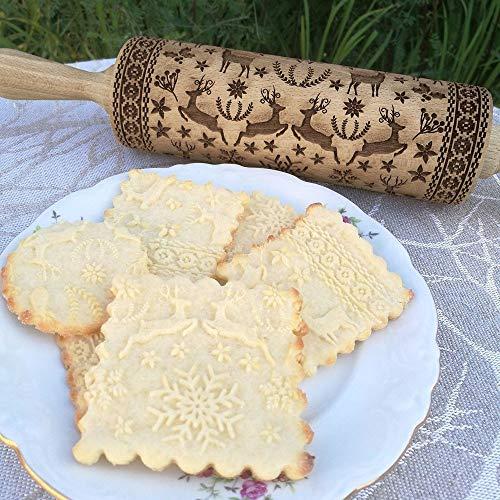 Gaddrt Nudelholz Rolling Pin Weihnachtsnudelholz graviertes geschnitztes Holz geprägtes Nudelholzküchenwerkzeug 38 cm