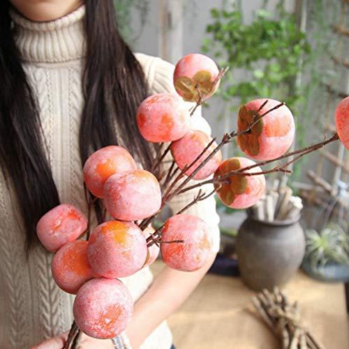 HYLZW Künstliche Blume Topfpflanze 1 Stücke Persimmon Künstliche Beeren Simulation Obst Nette Kleine Gefälschte Pflanze Hochzeitsdekoration Für Home Party Tisch Zubehör - Persimmon Blume