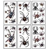 Legendog Legendog 30 Blatt Halloween Tattoo Sticker Wasserdichtes Spinnenmuster Temporärer Sticker