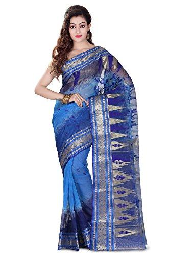 WoodenTant Silk Banarasi Saree In Aqua Blue And Royal Blue in Bengali...