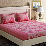 MACHERAON 150 TC 100% Glace Cotton Double Bedsheet with 2 Pillow Covers, Size 90 by 90 3D Printed Multicolour