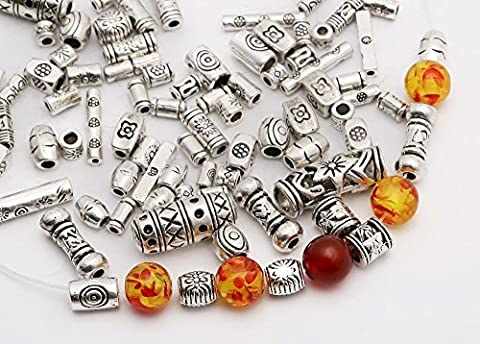 ILOVEDIY Argent Antique Tibétain Spacer Perles Tubes Mixte(#2 -