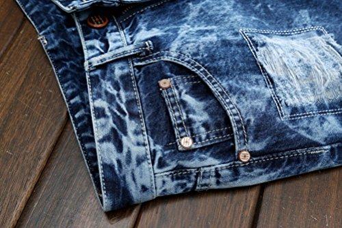 SMITHROAD Herrenjeans Destroyed Zerrissen Jeanshose Slim Fit Verwaschen Bikerjeans Clubwear Gr.33 Blau
