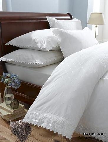King Size Percale Duvet Cover Bedding Set, White, Balmoral
