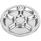 Nalmatoionme 6sections ronds en acier inoxydable Assiette à compartiments pour ustensile de cuisine (Argent)