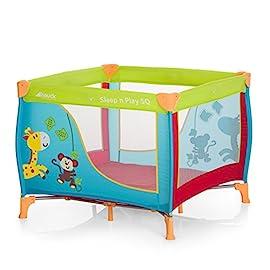 Hauck Sleep N Play SQ Box Quadrato e Leggero di 3 Pezzi, Lettino da Viaggio con Materasso e Borsa di Trasporto, 90x90 cm, Pieghevole, Jungle Fun (Multicolore)