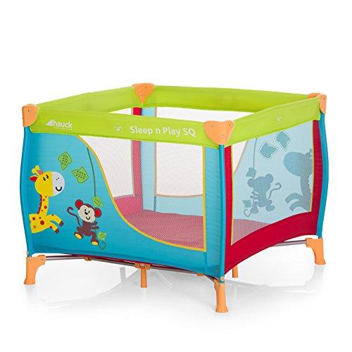 faltbares laufgitter Hauck 606117 Sleep N Play SQ, leichtes quadratisches Baby-Laufgitter, Laufstall, Reisebett inklusive Matratze und Tasche, faltbar und tragbar, 90 x 90 cm, bunt