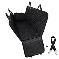 BAINA Dog Seat Cover for Pets, Waterproof & Scratch Proof & Nonslip Back Seat Cover,Dog Travel Hammock with Seat Anchors,Durable Universal fits All Cars, Pet Cover(Black)