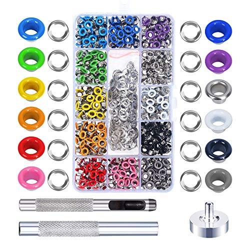 MEZOOM 480 Stücke Ösen Set 5mm Metallösen 12 Farben mit Installation Werkzeuge für Taschen Schuhe Kleidung DIY Handwerk (3/16 Zoll) (Erhalten Sie Es Zusammen Tshirt)