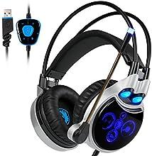 Sades R8 Auriculares Gaming Envolvente Sonido 7.1 virtual Auriculares de diadema cerrados con USB y sonido envolvente Con Micrófono Para PC/Laptop/Mac (Cancelación De Ruido, Azul negro)