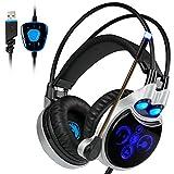 Sades R8 Gaming Headset Wired Over-Ear-Kopfhörer Dolby 7.1 Surround Sound mit Mic LED-Licht USB Klinkenstecker Für PC/Laptop/Mac Film Gaming Spielen Chat Musik (Schwarz & Blau)