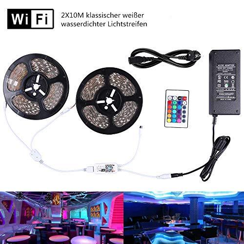 Miwatt 20M ist nicht wasserdicht RGB 24V LED Streifen Set, WLAN Handy APP Verbindungscontroller, Musikmodus, Unterstützung für die Verbindung mit Alexa,inkl 24V Netzteil