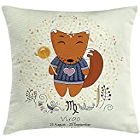 Zodiac Virgo Throw Pillow Cushion Cover, Funny Happy Cartoon Character on a Floral Background Kids
