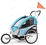 AEVOBAS Fahrradanhänger 2 in 1, Kinderanhänger mit Handbremse, Faltbarer Kinderwagen Anhänger für 2 Kinder, Jogger mit 5-Punkt-Sicherheitsgurtsystem, 2 Innentaschen & 2 transparente Seitenfenster