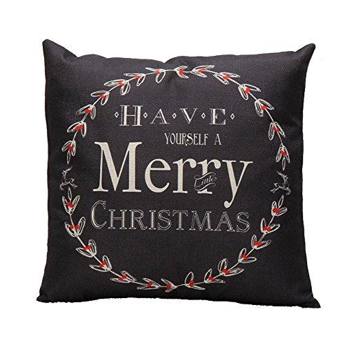 Proumy,Kissenbezüge Weihnachten Leinen Sofa Kissenbezug Home Dekoration Platz 45 * 45 cm (BK)