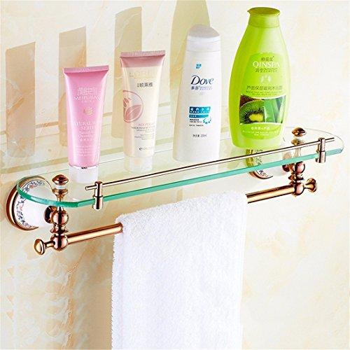 GuoEY Im europäischen Stil komplette Pink Gold Kupfer Keramik Zubehör für Badezimmer Badewanne Kombination Dry-Towels einklappbare Heckablage, 1 Batterien