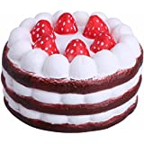 FEESHOW Blando Colossal Round Cake Jumbo lento Rising Squishy Perfumado Strawberry Cake Squeeze Juguetes