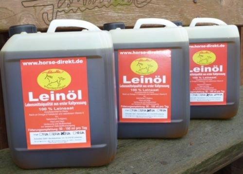 Horse-Direkt Leinöl 3 x 5 Liter = 15 Liter, garantierte Erstpressung - Immer frische Ware,Pferd, Hund