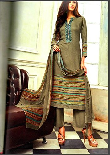 JAM SILK COTTON OLIVE GREEN COLOR SUIT WITH EMBROIDERY DEEPSY DESIGNS WITH...